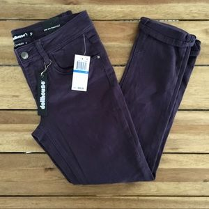 Purple skinny jeans 9 ripped knee cropped